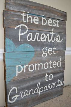 Reclaimed Wood Sign Best Parents are Promoted to by atdecor, $79.00