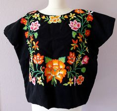 tehuana huipil mexican embroidery   Mexican Tehuana embroidered Huipil blouse Black Satin LARGE size ...