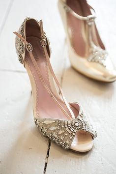 Exquisite wedding shoes by Emmy Shoes. Photograph by Naomi Kenton for Love My Dress®.