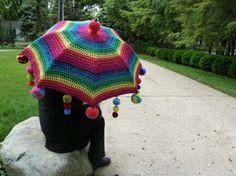 ombrello all'uncinetto impreziosito