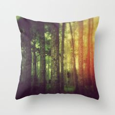 Pillow Cover, Black Forest Throw Pillow, Loft Home Decor Interiors, Red Yellow Green Rainbow, Bed Couch Living Room Accent 16x16 18x18 20x20...