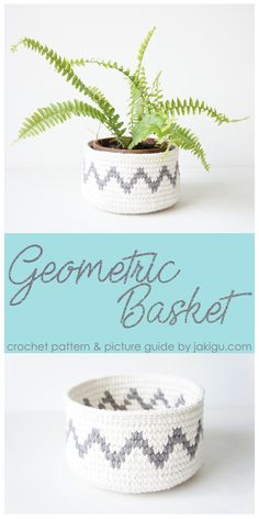 Geometric Crochet Basket with grey chevron details - crochet pattern and photo guide by jakigu.com