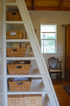 Check out the Sleeping Loft and Clever Ladder Storage in this Tiny Home! h/t Kendra Hubbard!