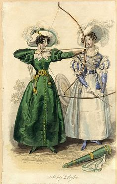 """Archery Dresses, Autumn 1831 """"The woman on the left wears a green archery dress with full skirts, a large, pointed, white lace collar and..."""
