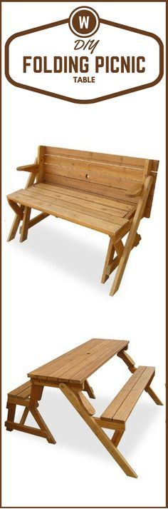 DIY Folding Picnic Table. Very Cool Project http://vid.staged.com/07et