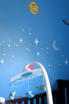 Outer space nursery - Red Tree Creations | With a few other touches I think I could make this a gender neutral nursery. Surely, you have looked up at the sky at night. The beauty of space is a wonder to all.