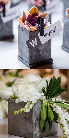Rugged meets feminine with bold and trendy contemporary wedding decorations, favors, and gifts featuring sharp lines and minimalist designs in concrete, copper, galvanized tin, and other industrial textures, tones, and shades to compliment industrial chic and cityscape wedding ceremonies and receptions. Industrial chic wedding decorations can be ordered at http://myweddingreceptionideas.com/industrial-chic-decorations-favors-gifts.asp