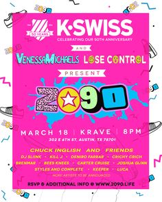 K-Swiss, VenessaMichaels, and Lose Control present 2090 | Friday, March 18, 2016 | 8pm-?? | Krave: 302 E. 6th St., Austin, TX 78701 | Free with RSVP: http://www.2090.life/