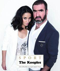 Rachida Brakni, Éric Cantona - The Kooples Eric Cantona, Celebrity Stars, The Kooples, Couple, Celebrities, My Style, Sports, Ad Campaigns, Fashion