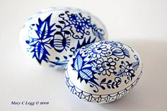 Traditional Czech Easter eggs with blue onion pattern.