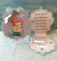 Disney Baby Ariel Seashell invitation by Little Mermaid Baby, Little Mermaid Birthday, Little Mermaid Parties, Handmade Invitations, Baby Shower Invitations, Birthday Invitations, Reception Invitations, Little Mermaid Invitations, Princess Party
