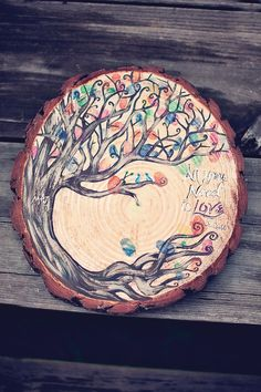 Signed tree trunk for your yard/house décor