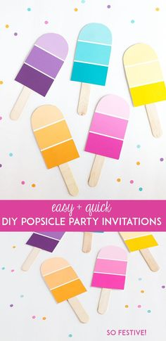 Diy Popsicle Party Invitations Popsicle Party Diy Party throughout Popsicle Invi., Diy Popsicle Party Invitations Popsicle Party Diy Party throughout Popsicle Invitations - Best Birthday Party Ideas. Summer Diy, Summer Crafts, Crafts For Kids, Diy Party Dekoration, Paint Chip Cards, Popsicle Party, Popsicle Sticks, Chip Art, Paint Samples