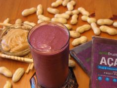 Açaí and Peanut Butter Smoothie Ingredients 2 packs of Amafruits Açaí purée (frozen) 2 tablespoons of peanut butter 6-8oz of water (or milk)
