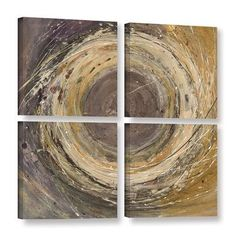ArtWall Wooden Rings by Albena Hristova 4 Piece Painting Print on Wrapped Canvas Set Size: