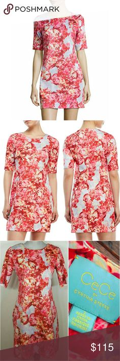 💲69✂NWT CeCe by Cynthia Steffe Pink Floral Dress ⏩Intricate floral prints detail this super soft & sturdy dress ⏩Beautiful combination of pink, red & light blue, it's very hard to capture how stunning the color is! It's so gorgeous on person ⏩Crew neck, scuba knit, zip back closure, elbow-length sleeves ⏩This dress is amazing on & has a very soft feeling on the skin. It'll make you feel feminine & sexy with very little effort. ⏩With 5% spandex, it has enough stretch to form a beautiful…