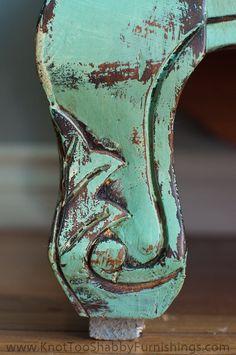 Annie Sloan Chalk Paint® mix of colors Greek Blue, Versailles, & Antibes Green.