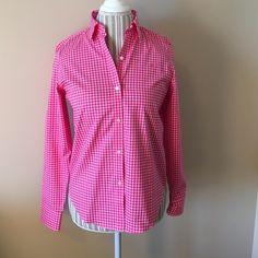 🎀 Ralph Lauren Button down Long Sleeve Shirt 🎀NWT Hot pink/ white checked Ralph Lauren button down shirt.  It is also a Non-Iron shirt😉 Tops Button Down Shirts