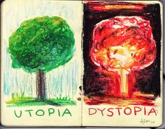 Distopia - we could use this as some inspiration, to get us thinking about how our Utopia can turn into a DistopiaUtopia vs. Distopia - we could use this as some inspiration, to get us thinking about how our Utopia can turn into a Distopia George Orwell, Utopia Vs Dystopia, Science Fiction, Dystopian Society, Fahrenheit 451, Wow Art, Fantasy, Cyberpunk, Renaissance
