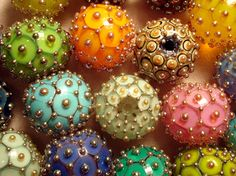 Lampwork Round Focal Beads - One of the first glass beadmakers whose work I fell in love with, and one of the very few I have let myself purchase! - Larry Scott Beads