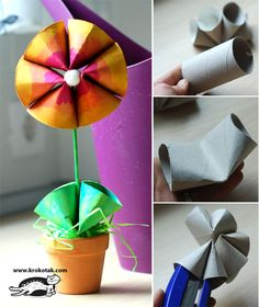 Make this kids craft by recycling a toilet paper roll! This spring flower could be a good craft for Mother's Day as well!