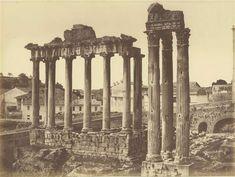 1856/58 autore non identificato . Tempio di Saturno con il lato sinistro del Campidoglio sullo sfondo.