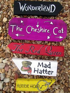 Alice In Wonderland Directional Signs. This would be cool in the garden