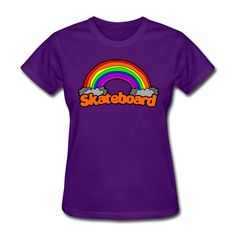 SICKIE THREADS   SK8 THE RAINBOW - Womens T-Shirt Heather Black, Unique Outfits, Fruit Of The Loom, Unisex Fashion, Classic T Shirts, Rainbow, T Shirts For Women, Mens Tops, Clothes