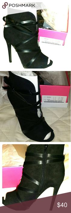 Black Open toed Boots Suede open toe high heel bootie. Never worn JustFab Shoes Heeled Boots