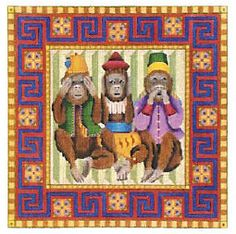 """See No Evil Monkeys Needlepoint Canvas  $330  Melissa Shirley  Past Times Needlepoint offers this """"See No Evil Monkeys"""" hand painted needlepoint canvas from the Melissa Shirley collection.   This canvas would be a great one for a beginner. It will make a stunning needlepoint pillow.   We can match this canvas with your favorite needlepoint yarn to create a custom needlepoint kit.     13 x 13   13 cou"""