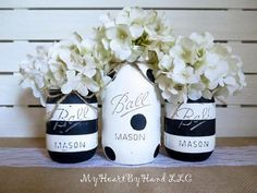 Black and White Distressed Mason Jars, Stripes and Polka Dots, Baby Shower…