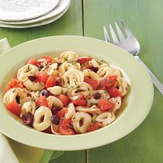 Since tortellini is filled pasta, this easy dish with tomatoes and olives is a one-pot meal -- perfect for busy nights when you don't have much time.