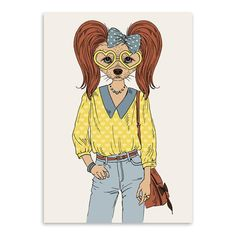 Modern Fashion Cartoon Animal Hippie Dogs A4 Art Print Poster Home Wall Picture Canvas Paintings Nordic Girl Room Decor No Frame