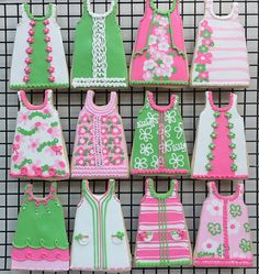 Pink and green summer dress iced cookies