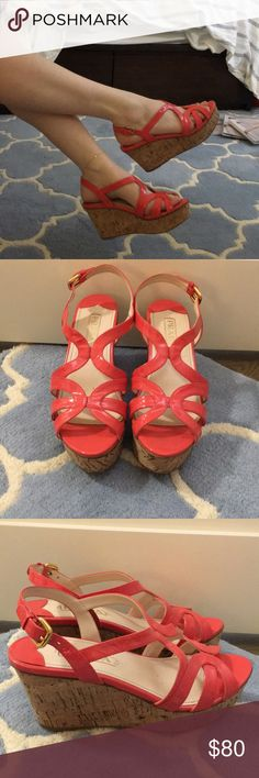 Prada coral wedges These are an awesome color pop and look fantastic with dresses or skinny jeans. I am partial to them with white skinny denim! A must as we get into spring Prada Shoes Espadrilles