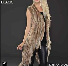 Long On The Sides Women's Knitted Rex Rabbit Fur Vest With Raccoon Trim Black