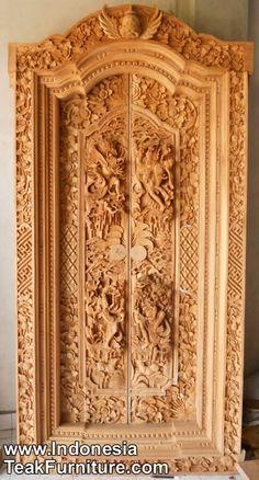 *BEAUTIFUL PORTAL's: wooden doors product code gbk3 2 handcarved door from bali