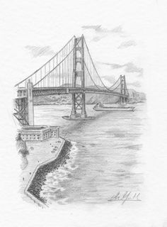 Golden Gate by Abe Goolsby Scenery Drawing Pencil, Landscape Pencil Drawings, Paris Drawing, Bridge Drawing, Cityscape Drawing, Architecture Drawing Art, Lion Illustration, Stippling Art, Black Art Painting