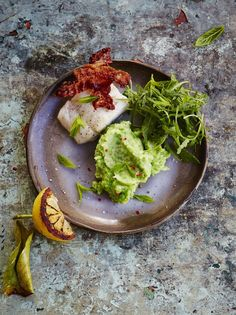 Grilled cod with pancetta and pea mash