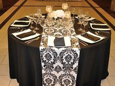 "Black White 12"" x 108"" Flocking Damask Table Runner 
