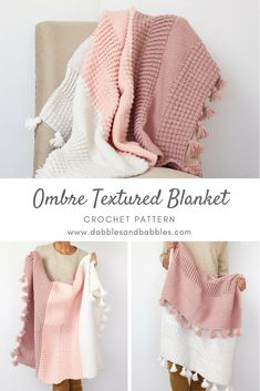 FREE CROCHET PATTERN - Are you looking for the perfect crochet blanket pattern. The Ombre Textured crochet afghan blanket uses different crochet stitches to create stunning texture. ~ BEGINNER level ~ finished size x Crochet Afghans, Motifs Afghans, Afghan Crochet Patterns, Baby Blanket Crochet, Modern Crochet Blanket, Afghan Blanket, Modern Crochet Patterns, Ripple Afghan, Crochet Pillow