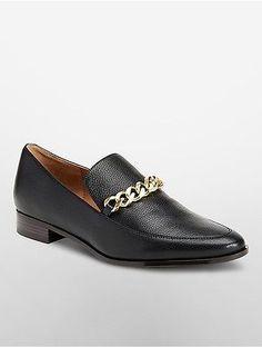 Calvin Klein Womens Fanna Leather Flat Shoe