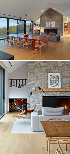 The main living area of this home has a large stone feature wall that surrounds a fireplace and wooden mantle.