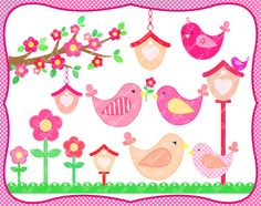 Digital Clipart  Birds  Birdhouses  Flowers  by blossompaperart, $3.99