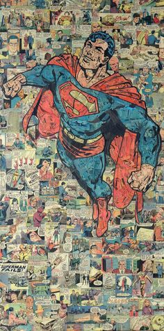 Austin-based collage artist Mike Alcantara made this one-of-kind superman collage entirely out of comic book pieces. It measures 48 inches in height and 24 inches in width, and was done on a gallery wrap canvas.
