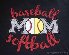 BASEBALL SOFTBALL MOM, sparkly baseball and softball glitter shirt