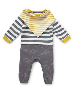 £12 2 Piece Pure Cotton Striped Mock Layered Onesie with Bib Clothing