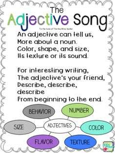 Adjective Song, to the tune of The Itsy Bitsy Spider, a fun way to teach parts of speech to elementary students