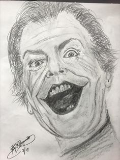 Drawing Jack Nicholson as the Joker in Bat Man, has to be one of my favorites to sketch. A man of so many faces no matter what roll he plays. I have had a few fans over the years reach out to me to draw this character and it was a pleasure to put pencil to paper once again.  I used graphite pencils and 9x12 white Strathmore sketch paper.