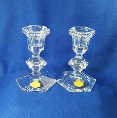 Vintage Candle Holders, Candlestick Holders, Candlesticks, Hurricane Glass, I Shop, Vintage Items, Flaws, Etsy Shop, Crystals